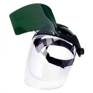 Ratchet Headgear, Shade 5 IR Flip Front Visor, & Clear Polycarbonate Face Shield Visor