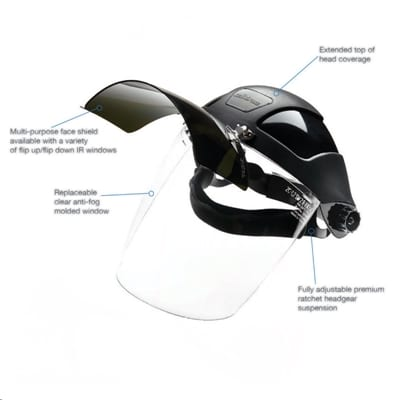 Ratchet Headgear, Shade 5 IR Flip Front Visor, & Clear Polycarbonate Face Shield Visor