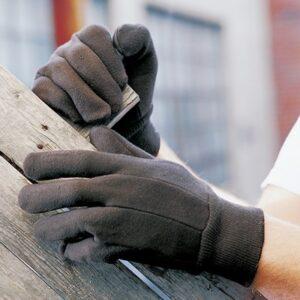 Brown Jersey Gloves/ Pair